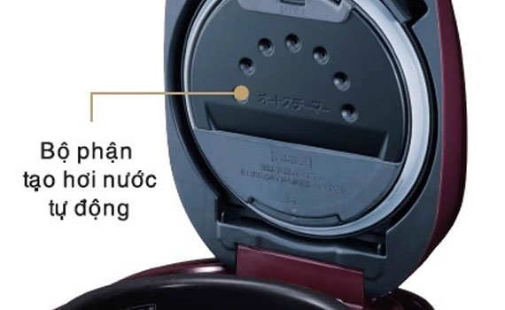 Hệ thống thoát hơi thông minh trên Nồi cơm điện Hitachi RZ-KV180YS giúp cơm không bị nhão
