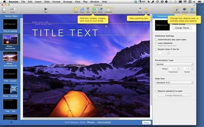 Sử dụng keynote để trình chiếu bằng Ipad