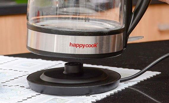 Ấm đun siêu tốc Happy Cook HK17SK có đế xoay 360 độ