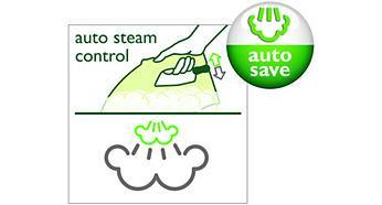 Tự Động Tiết Kiệm Tính năng cải tiến của bàn ủi hơi nước Philips GC3720, bảo đảm rằng bạn dùng 100% công suất hơi nước để ủi phẳng những nếp nhăn khó ủi