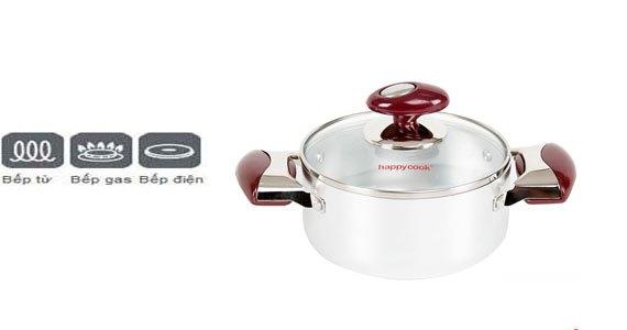 Nồi nhôm đáy từ Happy Cook Brilas HB-16SA sử dụng được bếp điện từ