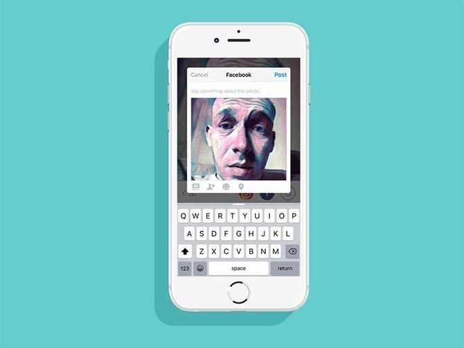 Prisma có rất nhiều lựa chọn để đăng lên mạng xã hội, gửi qua tin nhắn hoặc lưu ảnh vào máy