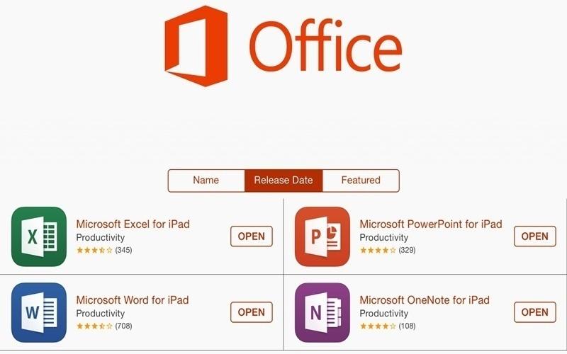 Bộ ứng dụng Office 365 có cả bản tính phí và bản miễn phí cho iPad