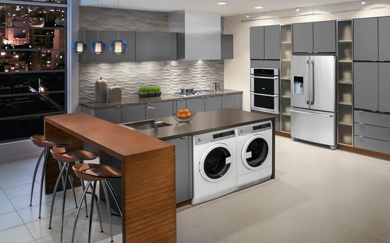 đặt máy giặt trong nhà bếp sao cho hợp lý