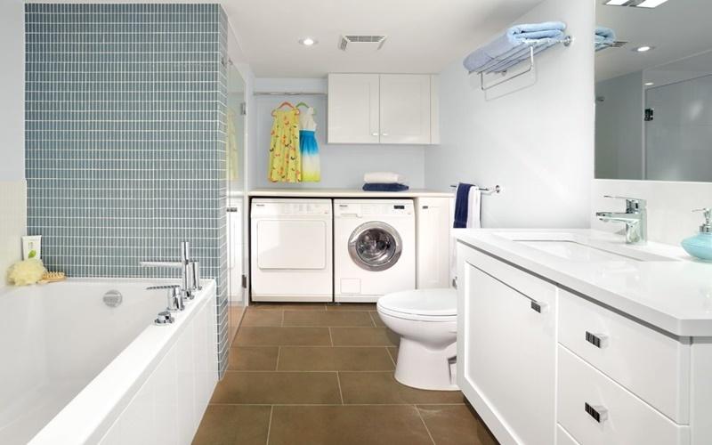 đặt máy giặt ở nơi khô ráo trong phòng vệ sinh