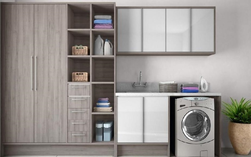 bố trí máy giặt trong phòng giặt đồ