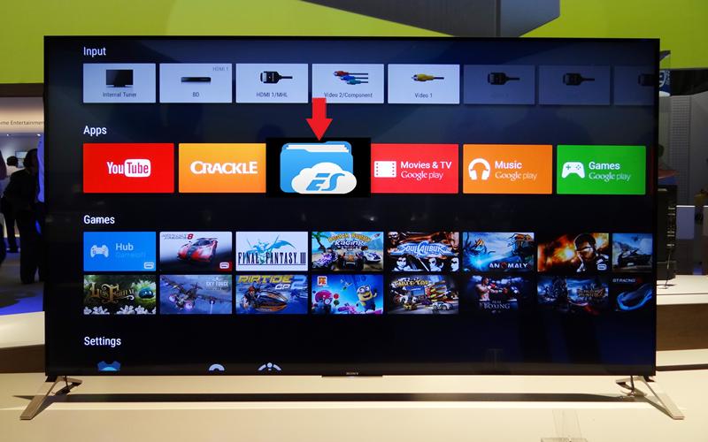 cài đặt ứng dụng ES File Explorer cho android tivi Sony