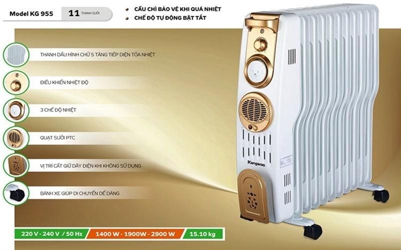 máy sưởi dầu Kangaroo KG955 có thiết kế sang trọng