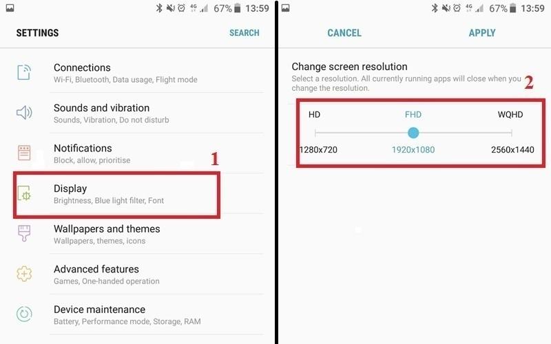 Thay đổi độ phân giải hiển thị để tiết kiệm pin