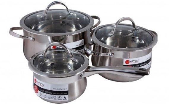 Bộ Nồi Inox Elmich 304 EL0124 gồm 3 kích cỡ khác nhau tiện lợi sử dụng.