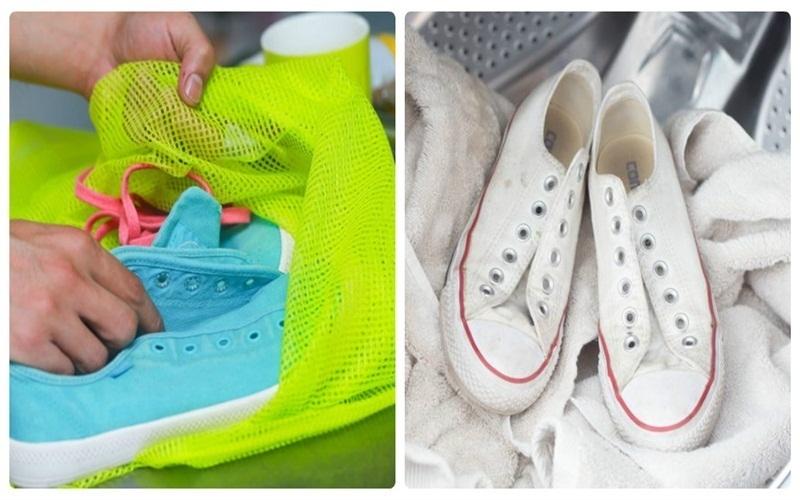 Cho giày vào túi lưới hoặc chèn khăn để bảo vệ giày, tránh gây ồn