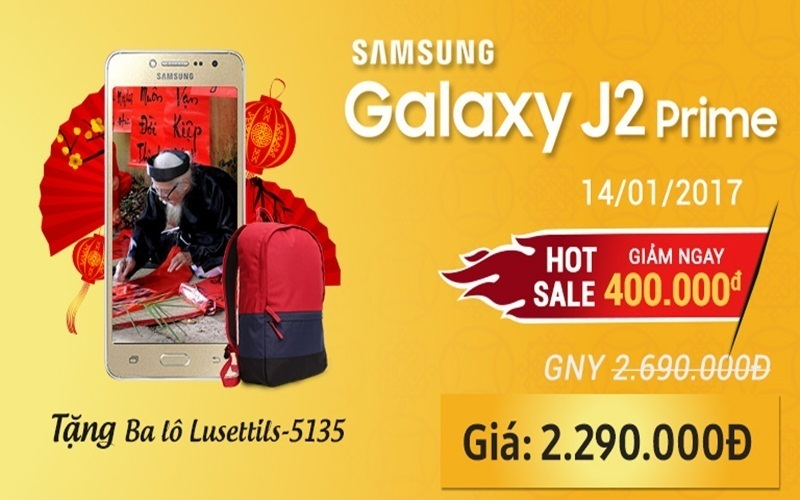 Samsung Galaxy J2 Prime đang có khuyến mãi ưu đãi tại Nguyễn Kim