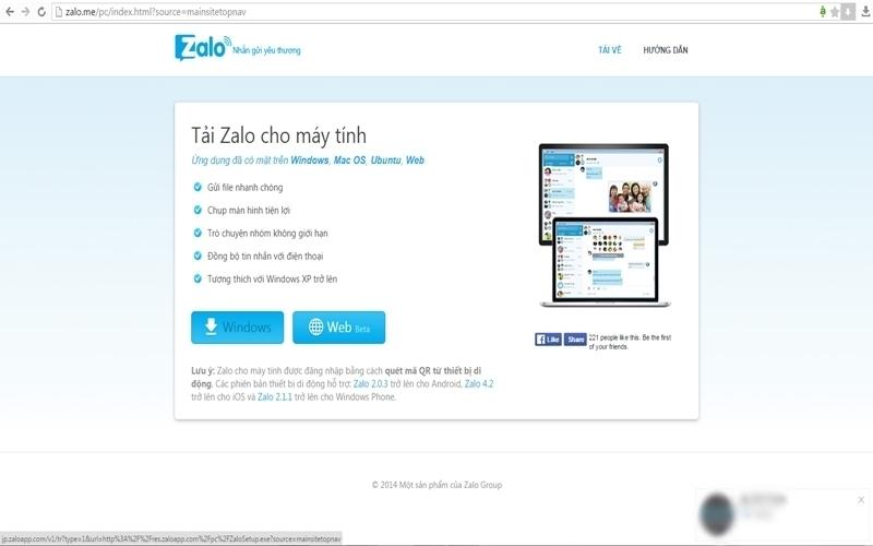 Đầu tiên bạn cần cài đặt ứng dụng trên trang chủ của Zalo cho máy tính của mình