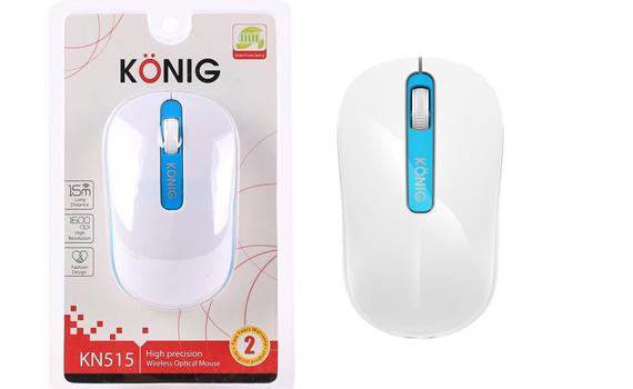 Chuột không dây KONIG KN515 thiết kế mẫu mã hiện đại, thon gọn vừa tay