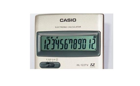 Máy Tính Casio HL122TV thiết kế màn hình rộng, các số hiện thị rõ ràng