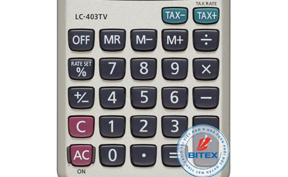 Máy tính Casio LC403TV sử dụng bàn phím chắc chắn, chữ nổi sắc nét