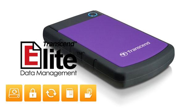 Ổ cứng di động Transcend StoreJet TS1TSJ25H3P tích hợp Transcend Elite