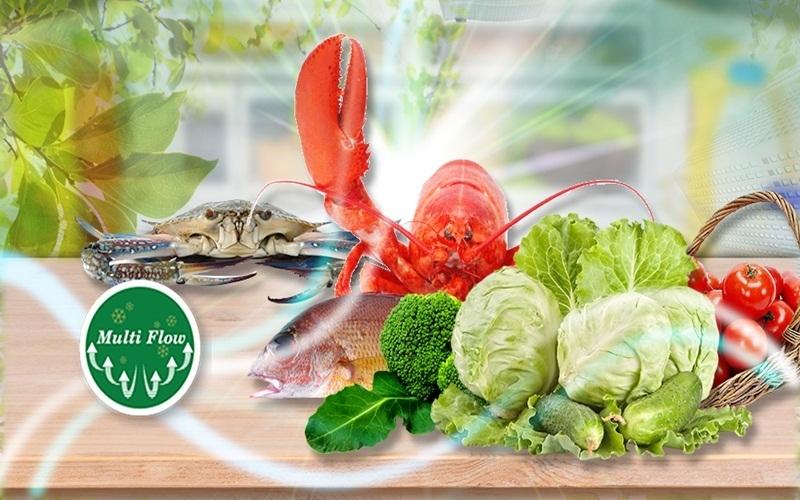 Luồng khí lạnh đa chiều Multi Flow giúp thực phẩm luôn tươi ngon