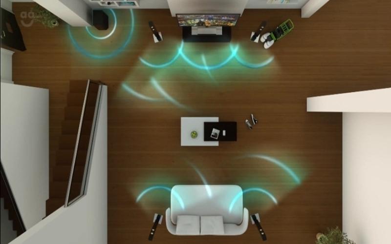 Không gian phòng khách được bố trí hợp lý giúp âm thanh phản xạ tốt hơn