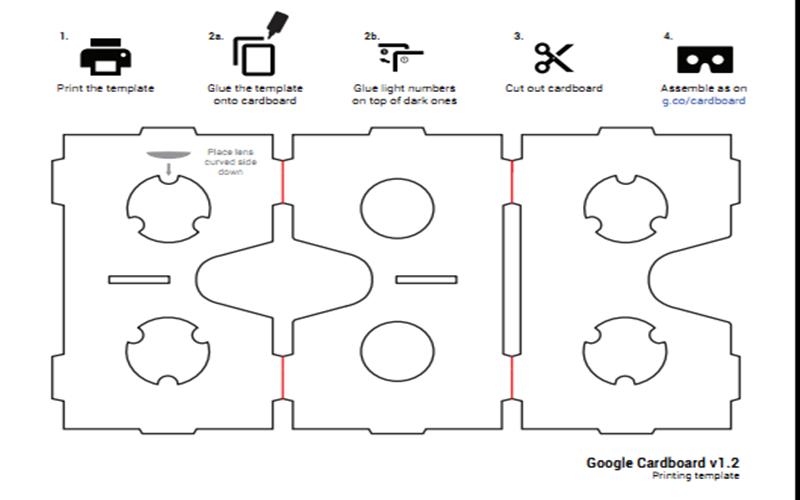 Bản vẽ của kính thực tế ảo google cardboard