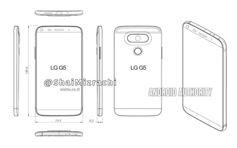 Bản phác thảo của điện thoại LG G6 tương tự với G5