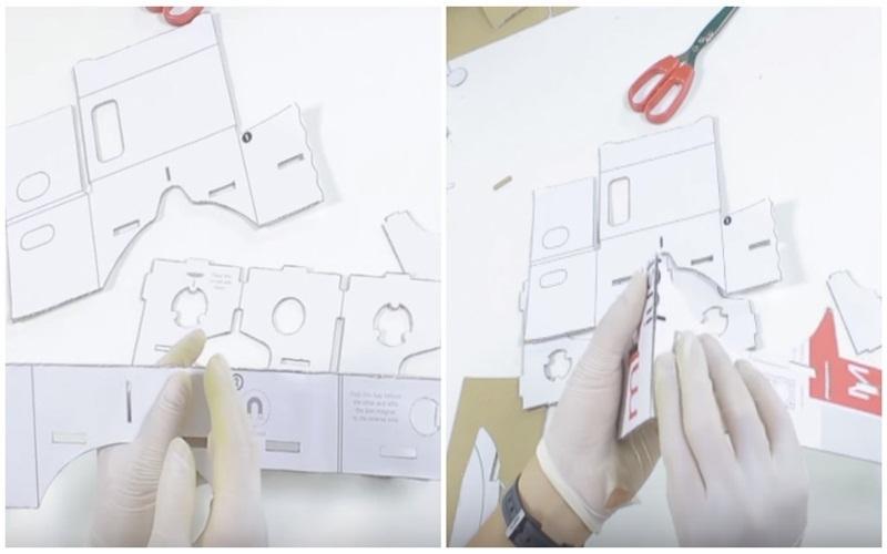 Lắp ráp những mẫu bìa đã cắt lại với nhau