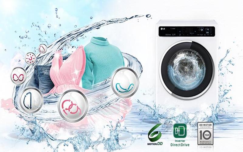 Máy giặt LG F1408NM2W sử dụng chế độ 6 motion như bạn đang giặt bằng tay