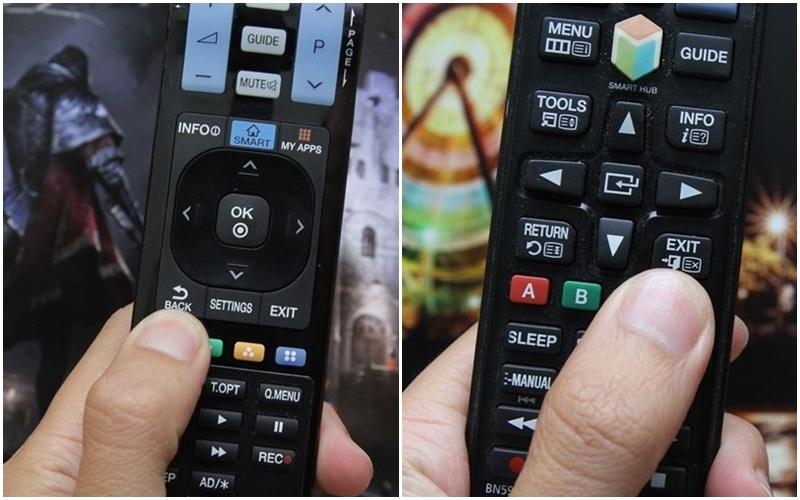 Tắt hẳn các ứng dụng bằng nút Back hoặc Exit trên remote tivi