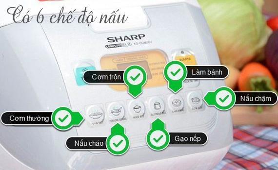 Nồi cơm điện Sharp KS-COM18V 1.8 lít có 6 chế độ nấu