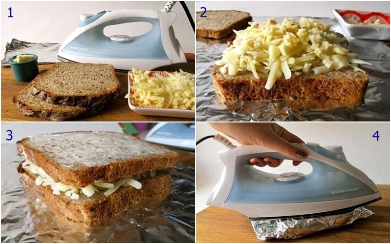 Nướng bánh mì phô mai bằng bàn ủi