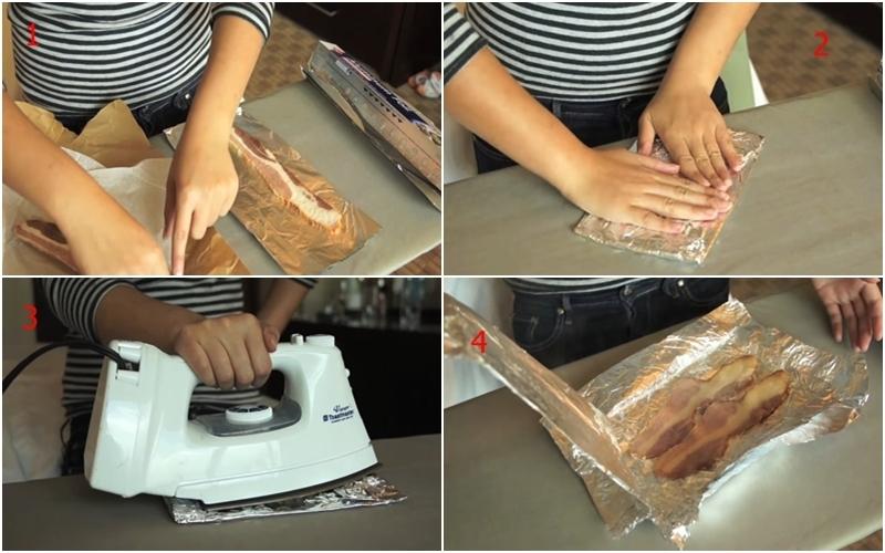 Nướng thịt xông khói bằng bàn ủi