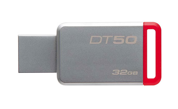 USB Kingston 32GB DT50 màu trắng đỏ nhỏ gọn, chắc chắn