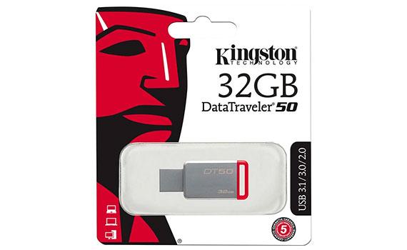 USB Kingston 32GB DT50 màu trắng đỏ kết nối qua cổng USB 3.0