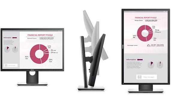 Thiết kế màn hình máy tính Dell P2217 mỏng gọn, sang trọng