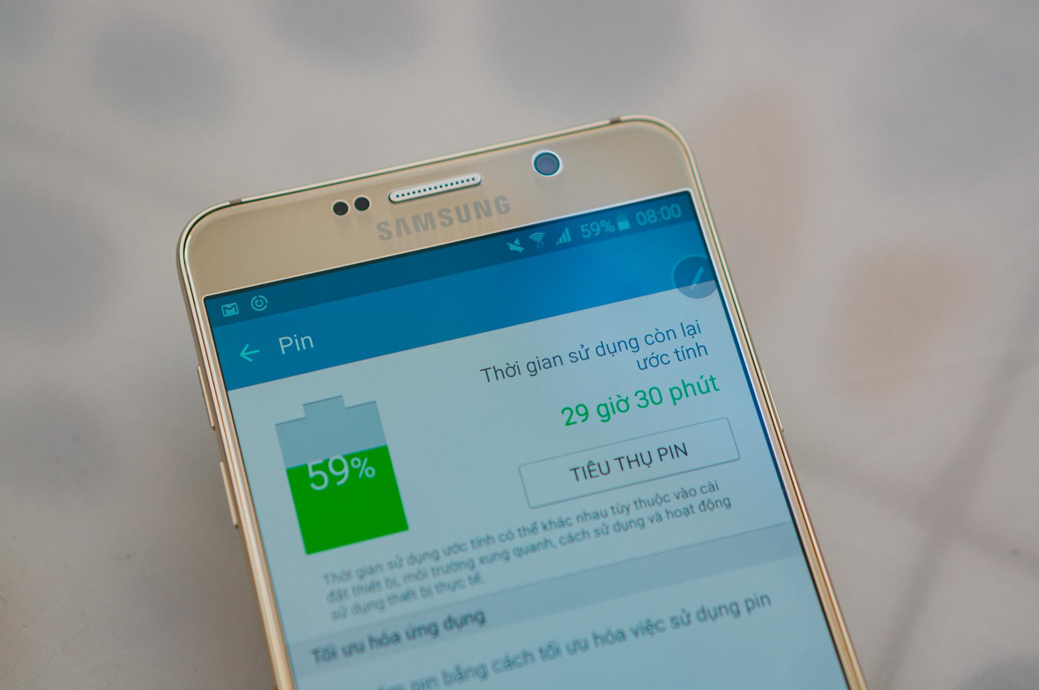 Samsung Galaxy Note 5 thời lượng pin ấn tượng