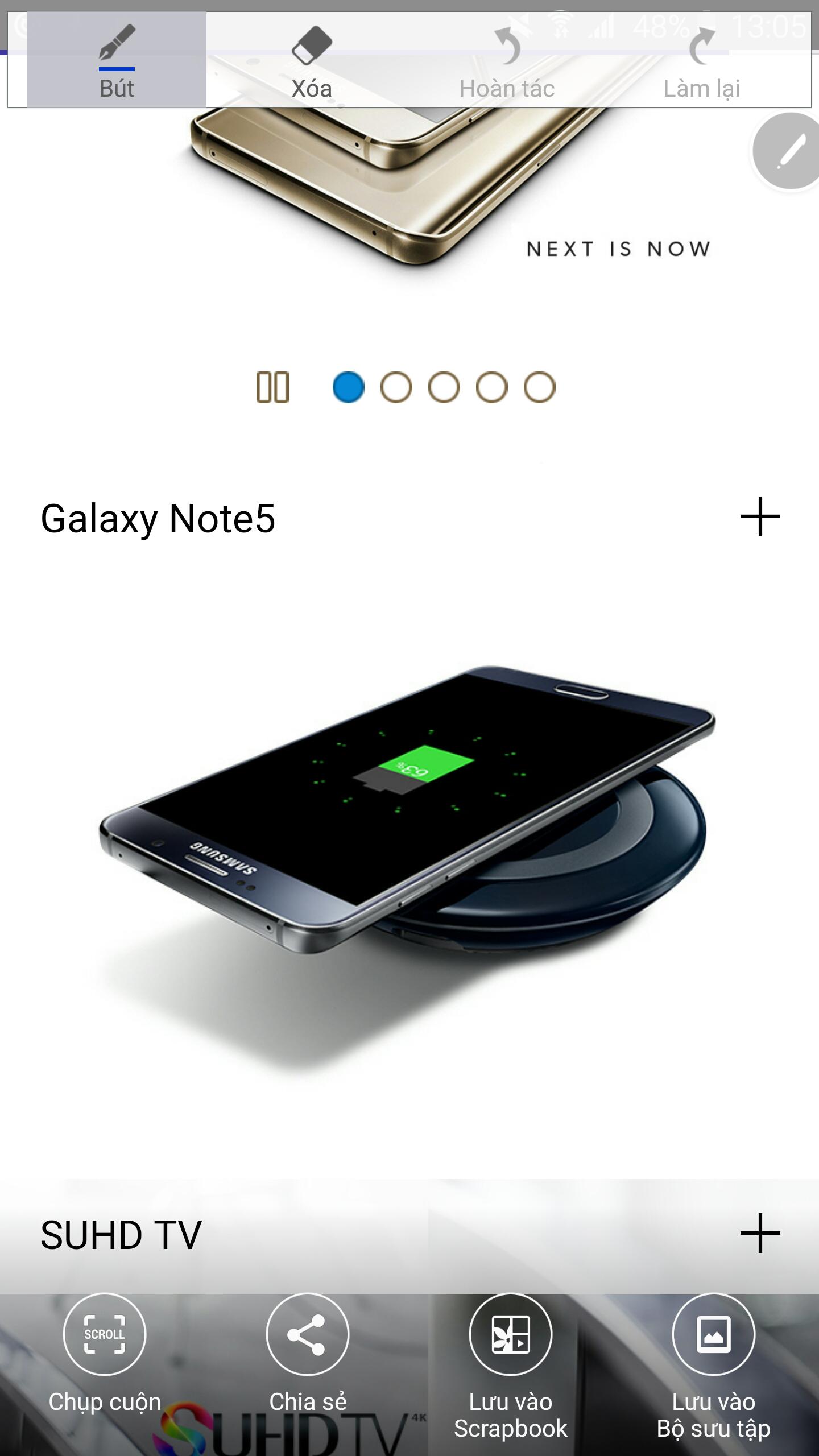 Samsung Galaxy Note 5 nhiều tính năng cùng S pen