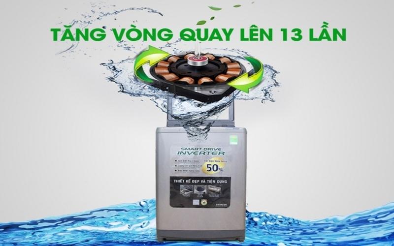 Số vòng quay của máy giặt được tăng lên gấp 13 lần so với máy giặt thường