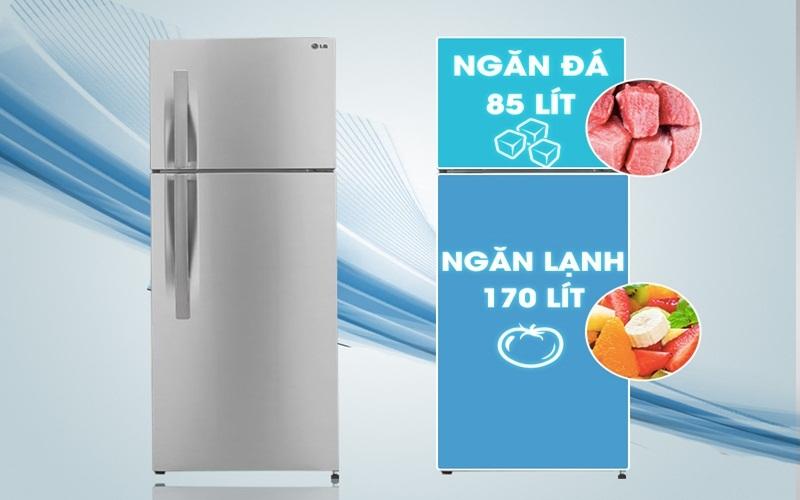 Tủ lạnh LG GN - L275BS có dung tích lớn, tha hồ cho bạn dự trữ thực phẩm