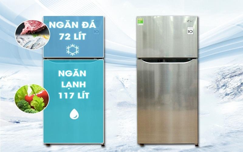 Tủ lạnh LG GN - L205PS có dung tích lớn, tha hồ cho bạn dự trữ thực phẩm