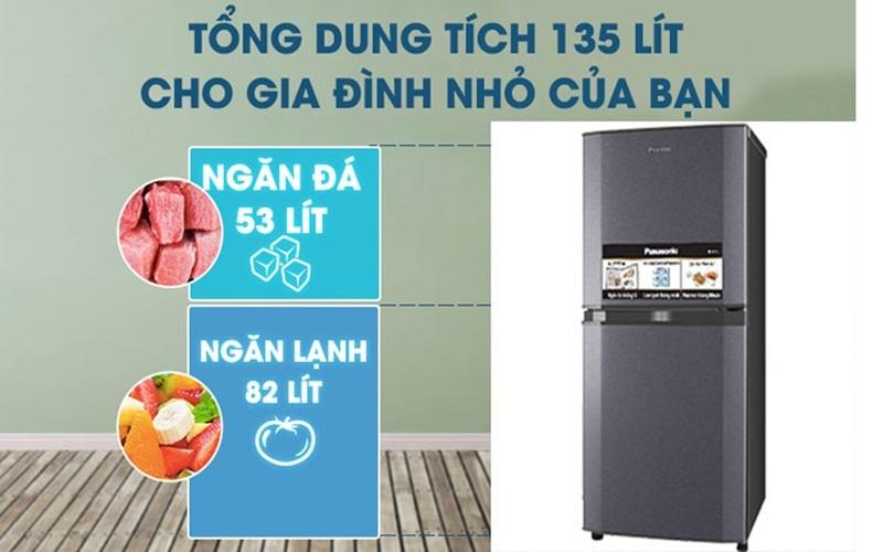Tủ lạnh Panasonic NR-BJ151SSV1 có thiết kế nhỏ gọn, thích hợp cho mọi không gian