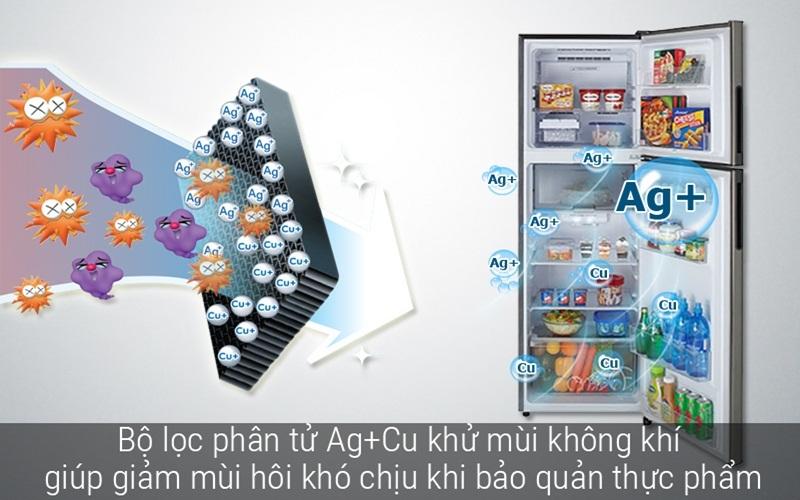 Tủ lạnh Sharp nổi bật với bộ lọc phân tử Nano Ag+ Cu kháng khuẩn, khử mùi hiệu quả