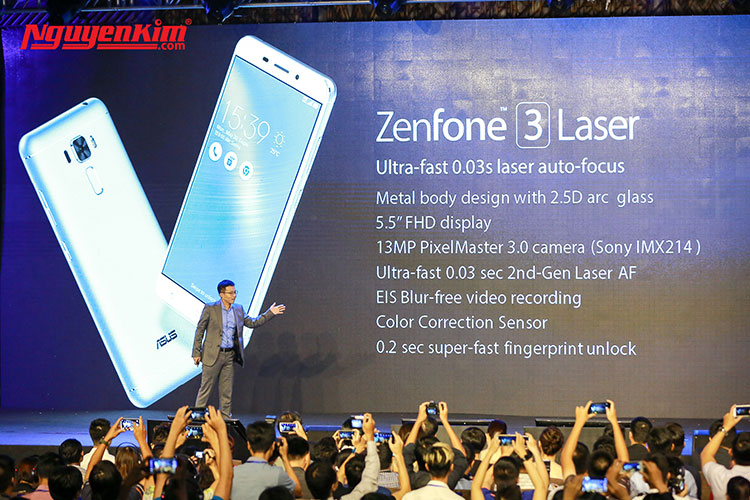 Điện thoại Zenfone 3 Laser có hai mặt kính cường lực