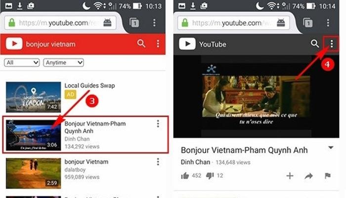 Chọn video bạn thích trong Youtube và bấm biểu tượng 3 chấm