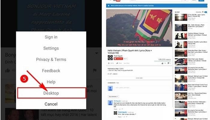 Chọn chế độ Desktop để trình duyệt hiển thị Youtube ở chế độ này