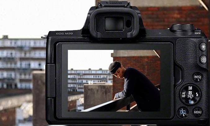 Máy ảnh Canon EOS M50 KIT 15-45mm màu đen chụp ảnh