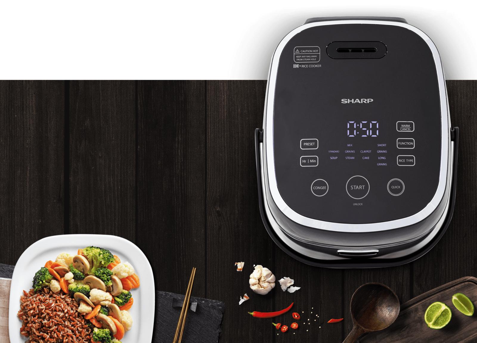 Nồi cơm điện cao tần Sharp 1.8 lít KS-IH190V-BK nấu cơm nhanh