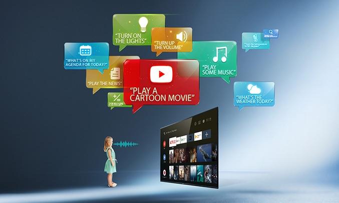 Android QLED Tivi TCL 4K 55 inch 55C815 tìm kiếm bằng giọng nói