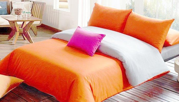 Bộ drap màu cam nhạt thích hợp cho người lớn tuổi