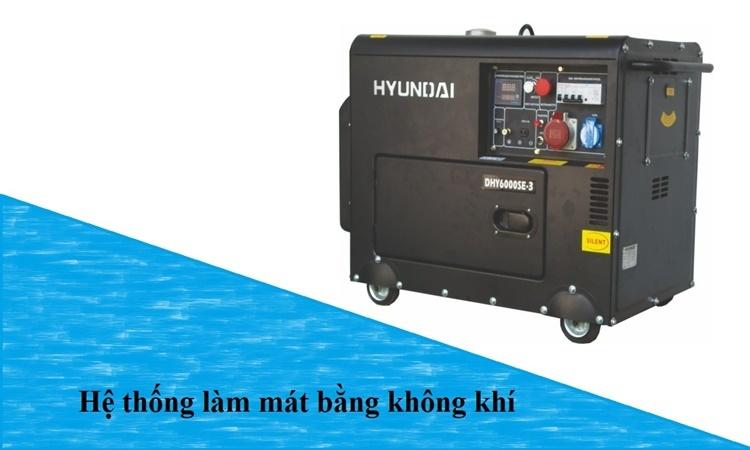máy phát điện Huyndai DHY6000SE-3 hệ thống làm mát bằng không khí