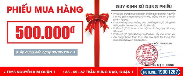 Phiếu mua hàng áp dụng tại Nguyễn Kim Quận 1